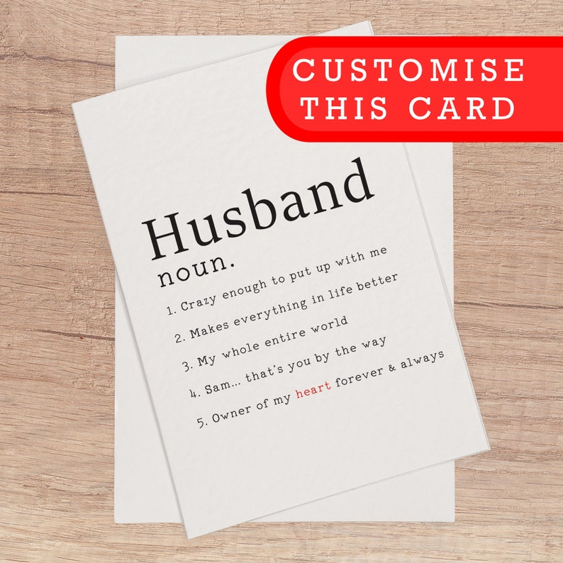 Custom Husband Card Blank Birthday Anniversary Customisable