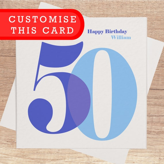 50th Birthday Card For Him Personalised Happy