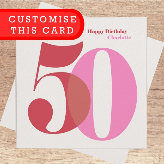 50th Birthday Card For Her Personalised Happy