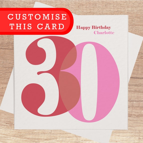 30th Birthday Card For Her Personalised Happy