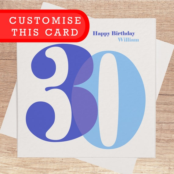 30th Birthday Card For Him Personalised Happy