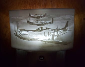 3D printed P-51 Mustang Lithophane LED night light