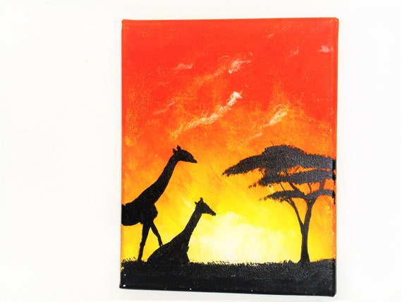 African Sun Acrylic Landscape Painting Home Decorating Etsy