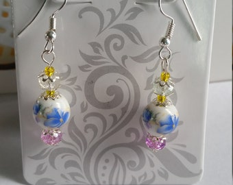 Glass Floral Dangle Earrings