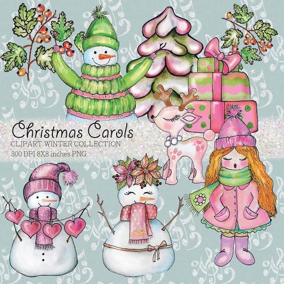 Christmas Carols Clipart.Christmas Carols Clipart Christmas Digital Scrapbook Designs Snowmen Clip Art