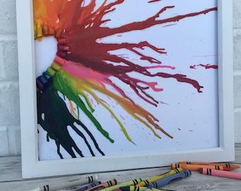 Half Crayon Heart, crayon art, melted crayons, childrens present, 3d art, nursery room, wall art, rainbow