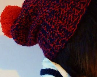Hand knitted beanie hat