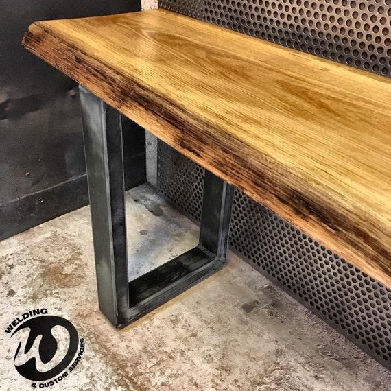 Magnificent Bench In Solid Wood Industrial Design Live Edge Oak Metal Feet Made To Measure Dining Room Living Room Inzonedesignstudio Interior Chair Design Inzonedesignstudiocom
