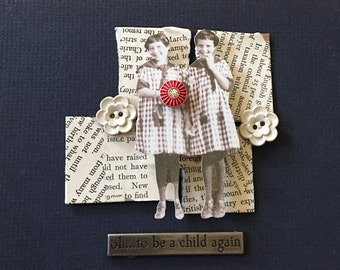 Mixed media vintage picture, sisters