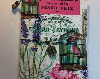 Grand Prix Paris Fabric Notebook Refillable Cover, Hand sewn.  Comes with  notebook insert.