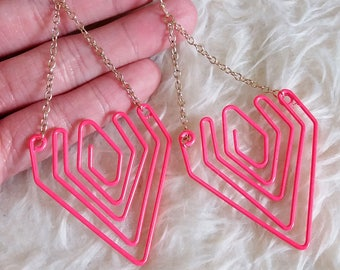 Pink Wire Dangle Earrings
