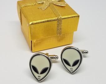 Alien Cufflinks with Presentation Box