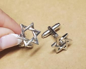 S0598 Religious Cuff Links Star of David Cufflinks Jewish Cufflinks Star Cuff Links Lifetime Guarantee Pair