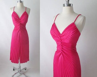 Vintage Fredericks Of Hollywood Hot Pink 50's Travilla / Marilyn Style Evening Dress M