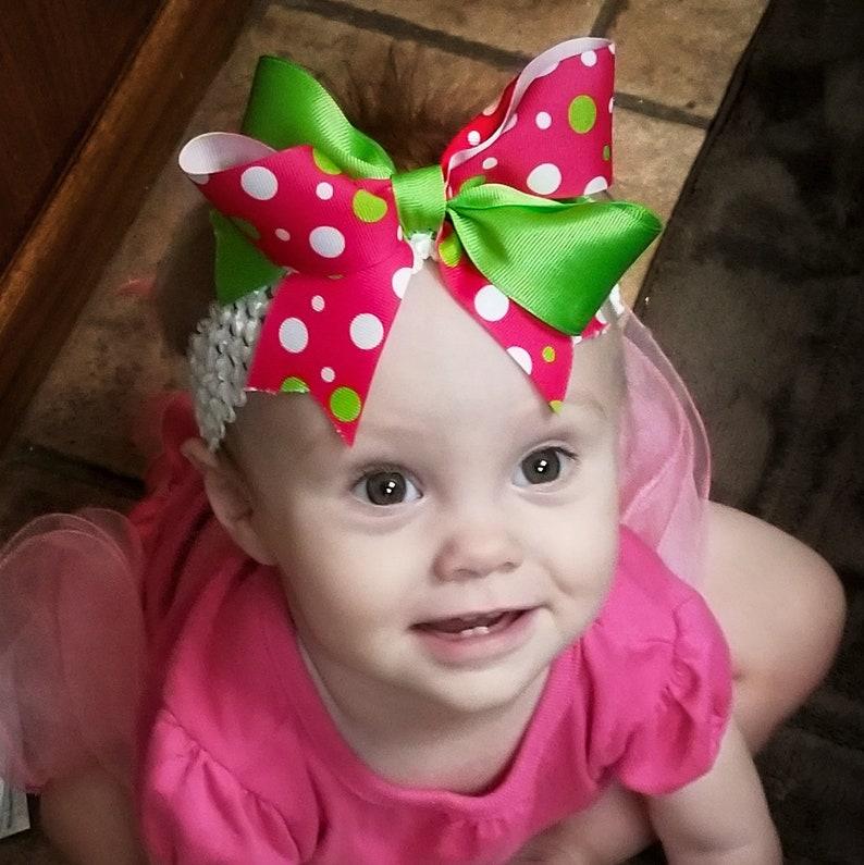 Bow Crown Lil Strawberry Hair Clip or Headband Newborn-3 image 0
