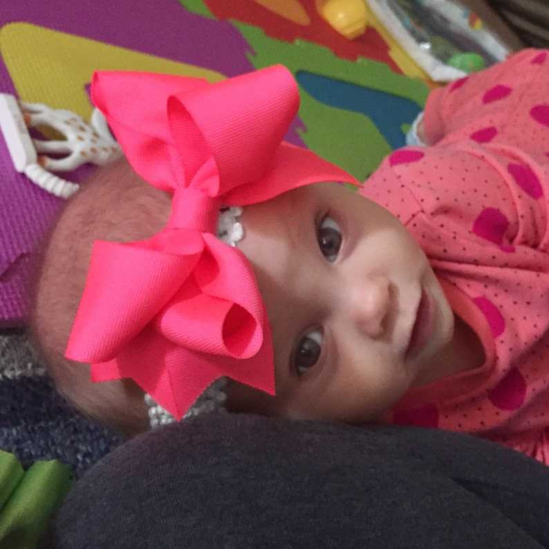 Bow Crown Neon Pink Hair Clip or Headband Newborn-3 Yrs image 0