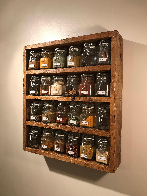 Rustic Spice Rack Includes Jars Reclaimed Pallet Wood