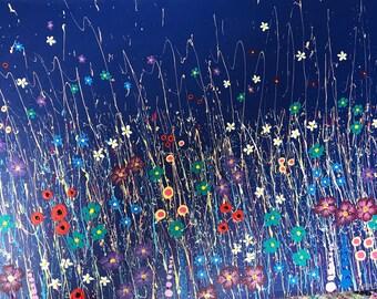 Sweet Eden - beautiful meadow flowers art painting blue summers  night