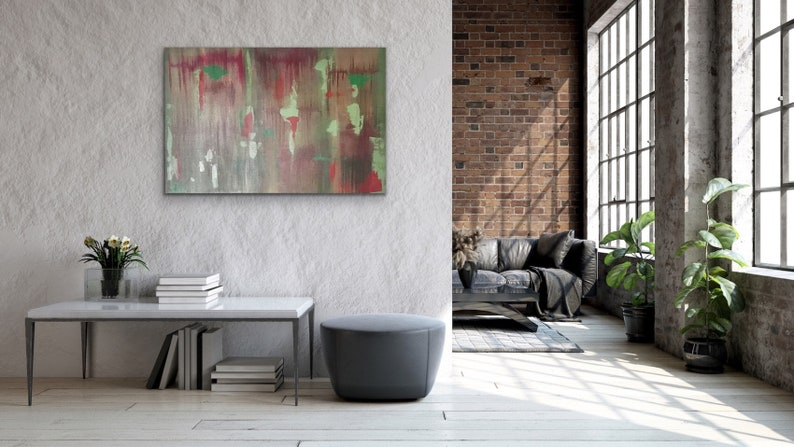 Red /& Green Painting Forrest Painting The Forest 24\u201dx36\u201d Acrylic Painting Abstract Painting