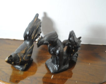 Antique Black with Gold Trim Terra Cotta Rooster and Hen Figurines