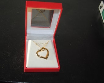 18 ct Gold over Sterling Floating Heart Pendant Necklace