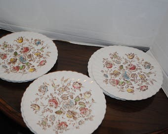 Beautiful Vintage Johnson Brother Staffordshire Bouquet 9 1/2 in Dinner Plates