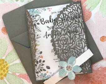 Set of 10: Floral Baby Shower Invitations