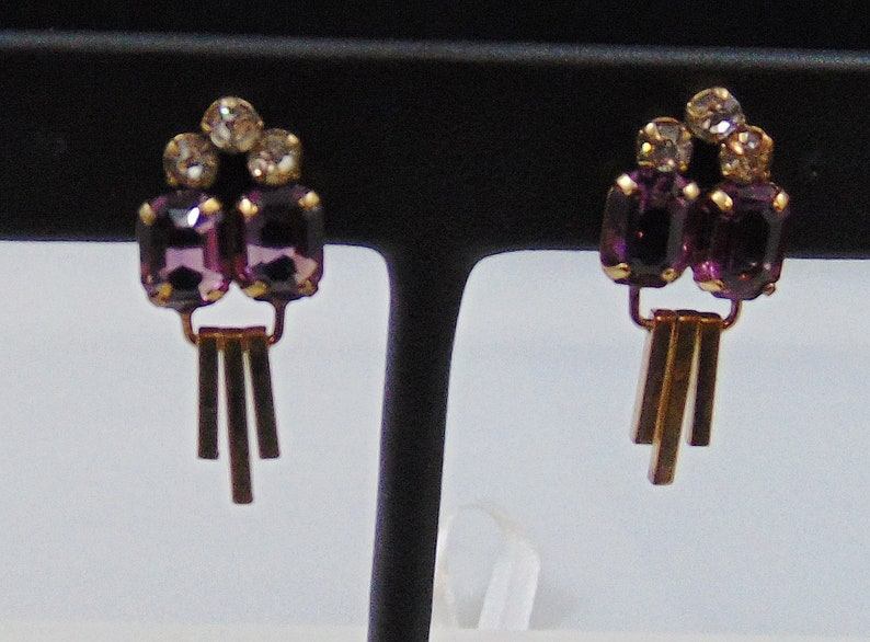 Vintage Signed M/&S Retro Goldfilled Waterfall Pin Pendant Necklace and Screwback Dangle Earrings Set in Purple and Clear Rhinestones