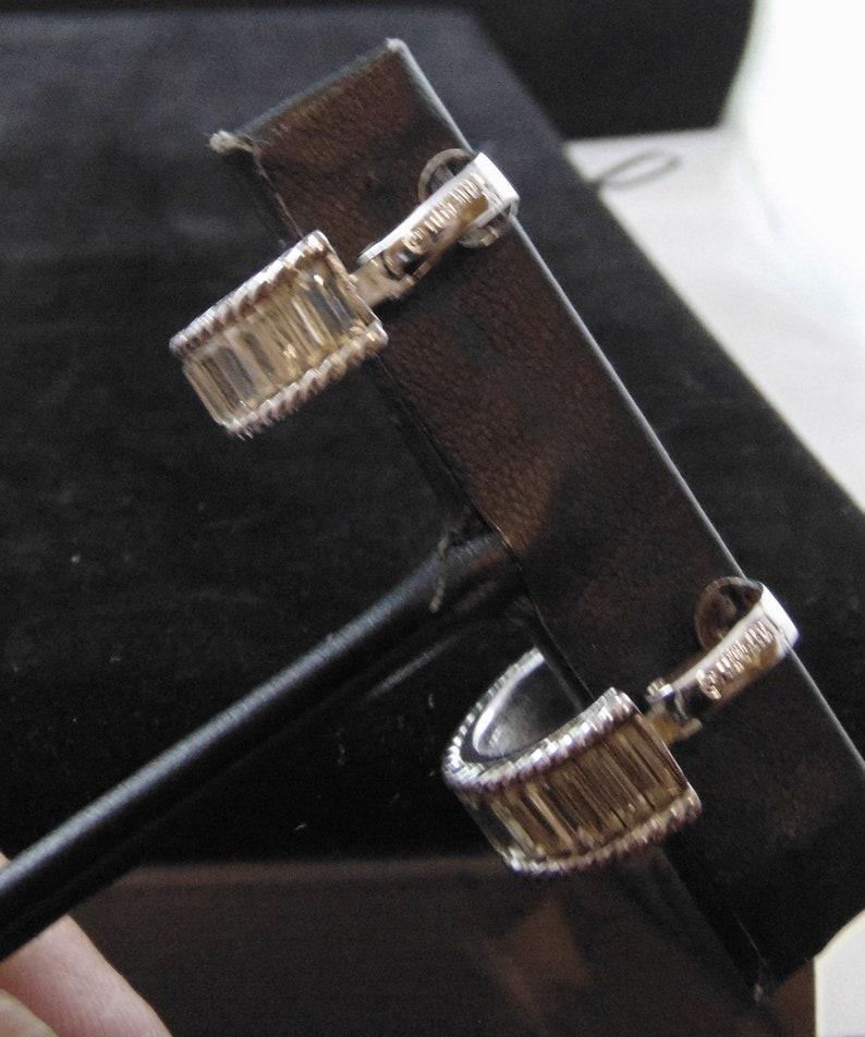 Vintage Signed Crown Trifari \u00a9Clear Rhinestone Baguette Hoop Clip Earrings