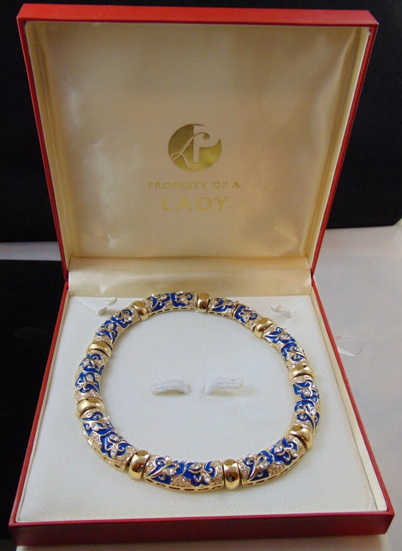 Vintage Signed Property of a Lady Dark Blue Enamel /& Rhinestone Collar Necklace in Original Presentation Box