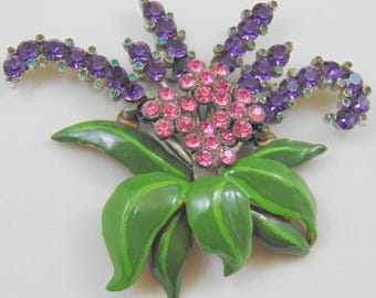 Huge Layered Enamel and Rhinestone Floral Spray Brooch Pin