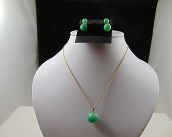 Peking Glass Bead Necklace and Clip Earrings Set