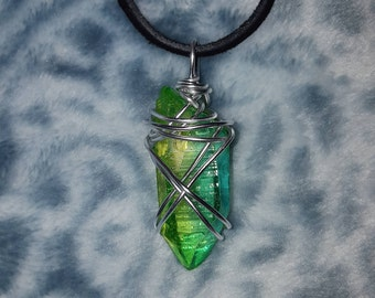 Polaris Themed Wire-Wrapped Dyed Green Quartz Pendant