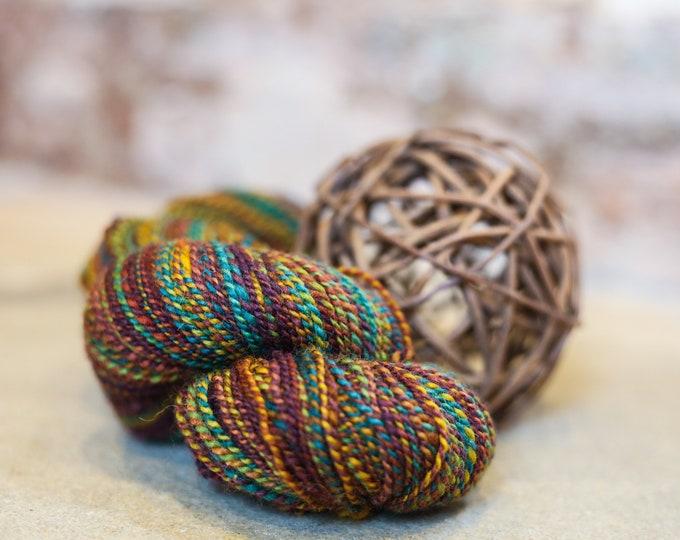 Radiant handspun yarn for knitting, crochet, weaving, DK-light worsted weight