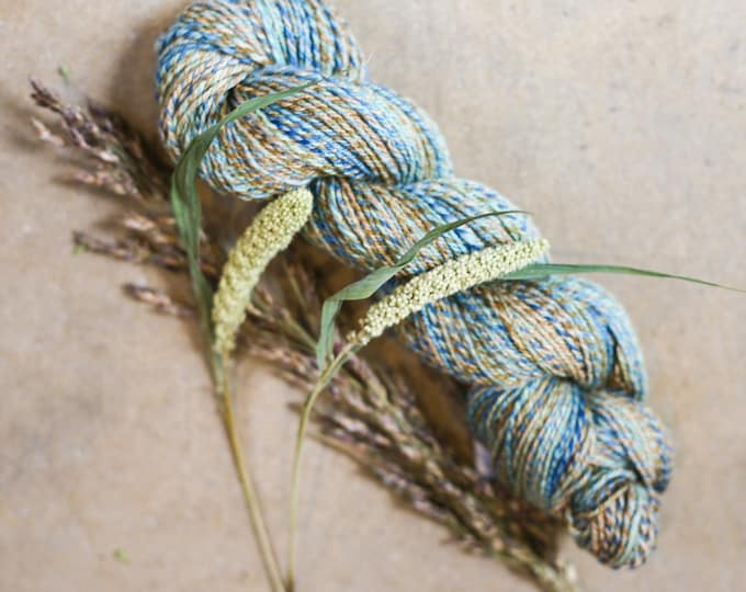 Vintage quilt handspun yarn for knitting, crochet, weaving, DK weight, handdyed fiber