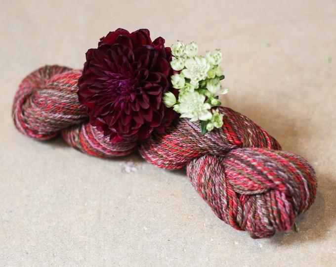 Red Berry Treasure handspun yarn for knitting, crochet, weaving, DK weight, handdyed fiber