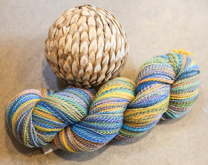 Lake Sunset handspun yarn for knitting, crochet, weaving, Fingering weight, handdyed fiber