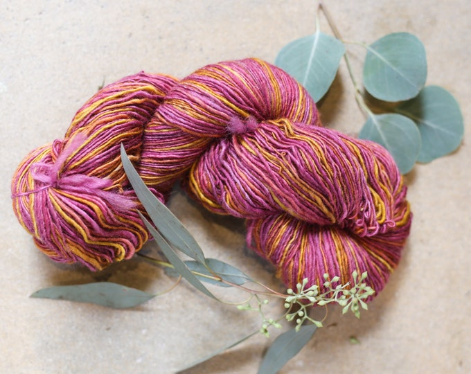 Autumn Sunset handspun yarn from handdyed fiber for knitting, crochet, weaving