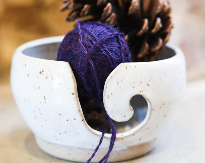 Ceramic yarn bowl for knitting and crochet