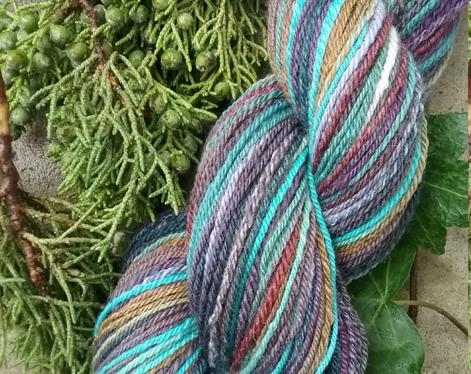 Town Twilight handspun yarn for knitting, crochet, weaving, Sport weight, handdyed fiber