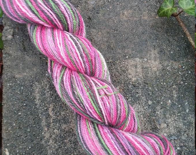 Blushing Pink handspun yarn from handdyed fiber for knitting, crochet, weaving