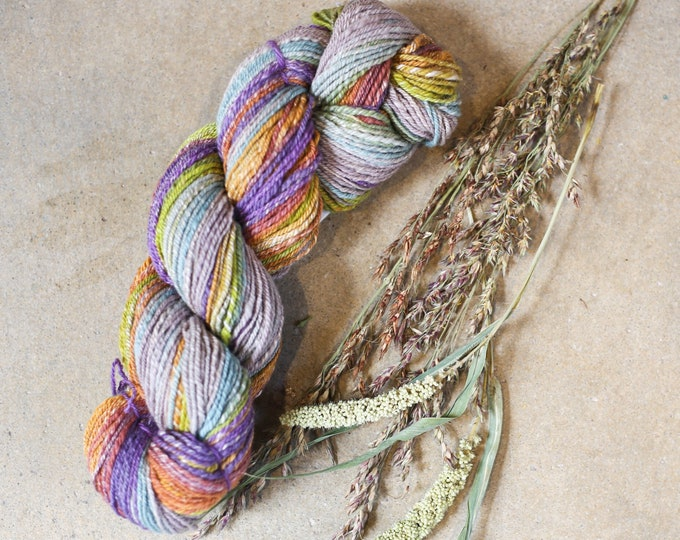 Stone and Heather handspun yarn for knitting, crochet, weaving, Sport weight, handdyed fiber