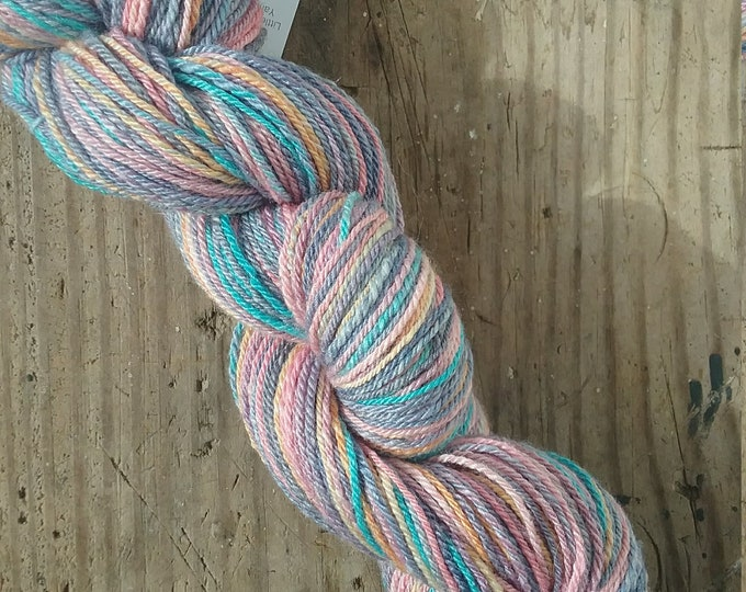 Frosted Daybreak handspun yarn from handdyed fiber for knitting, crochet, weaving