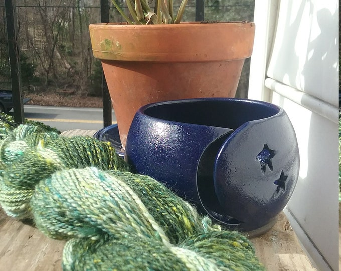 Ceramic yarn bowl, Moon and Stars design
