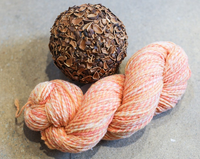 Orange Sherbert handspun yarn for knitting, crochet, weaving, worsted weight