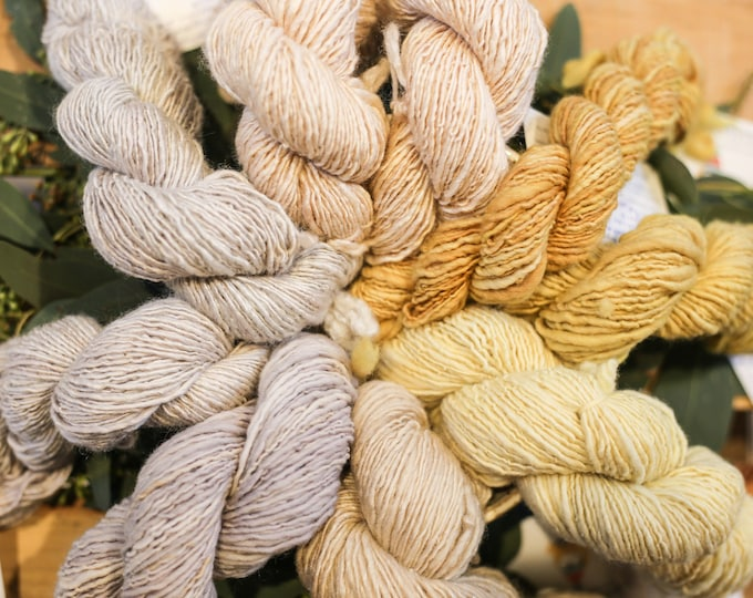 Naturally dyed handspun yarn for knitting, crochet, weaving. Dyed using natural dyes
