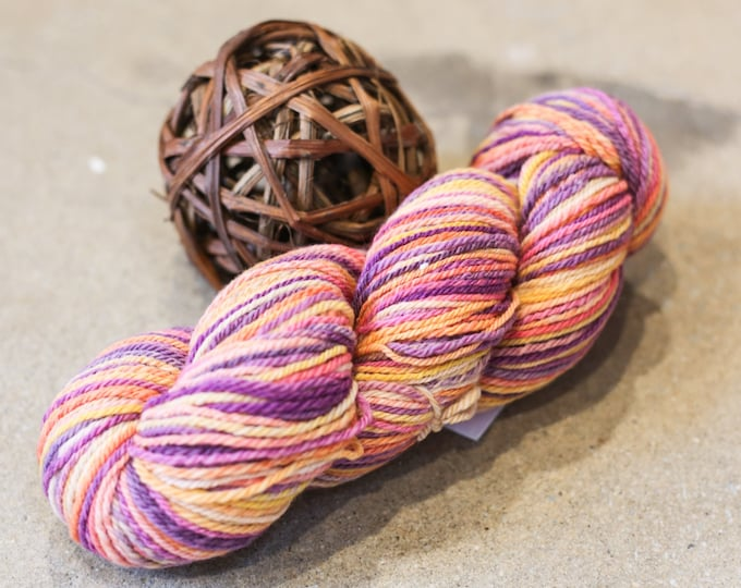 Wildflowers handspun yarn for knitting, crochet, weaving, DK weight, handdyed fiber