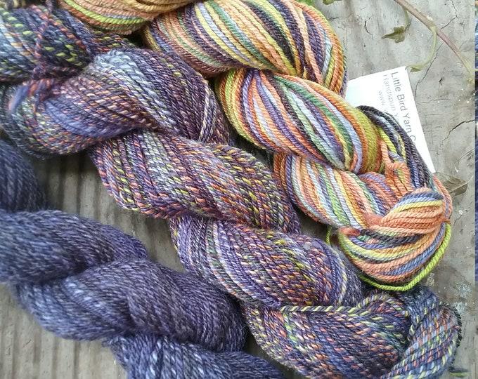 Butterfly Habitat Shawl set, 3 skeins of handspun yarn for knitting, crochet, weaving from handdyed fiber