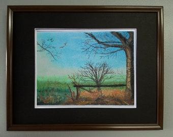 "8x10, Original Pastel Painting, Landscape Artwork, ""Sunlight on Winter Tree"""