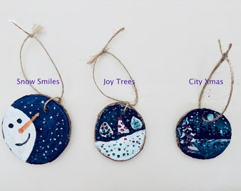 hand painted wooden christmas ornaments - Wooden Christmas Ornaments